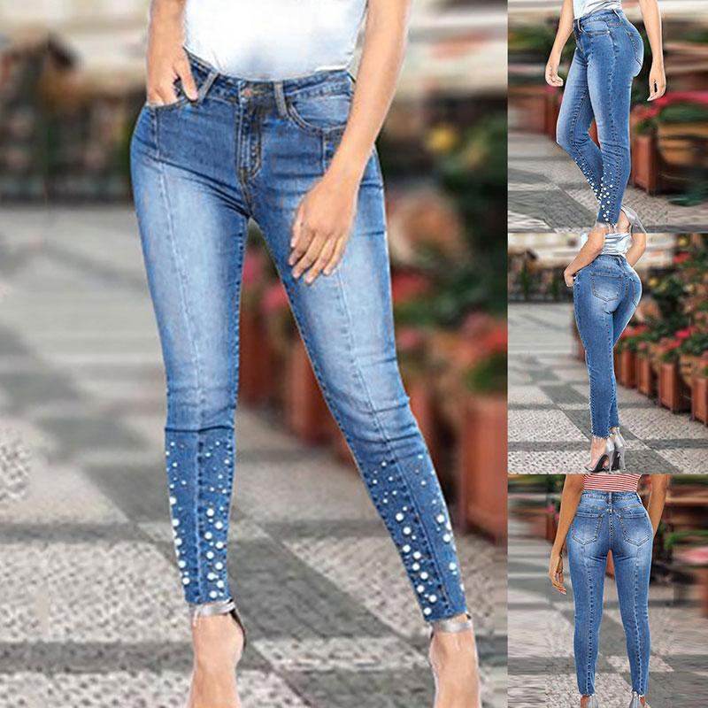 2021 2020 New Blue Jeans Pencil Pants Women Mid Waist Slim Pearl Skinny Denim Jeans Woman Casual Stretch Skinny Trousers Female From Balsamor 21 36 Dhgate Com