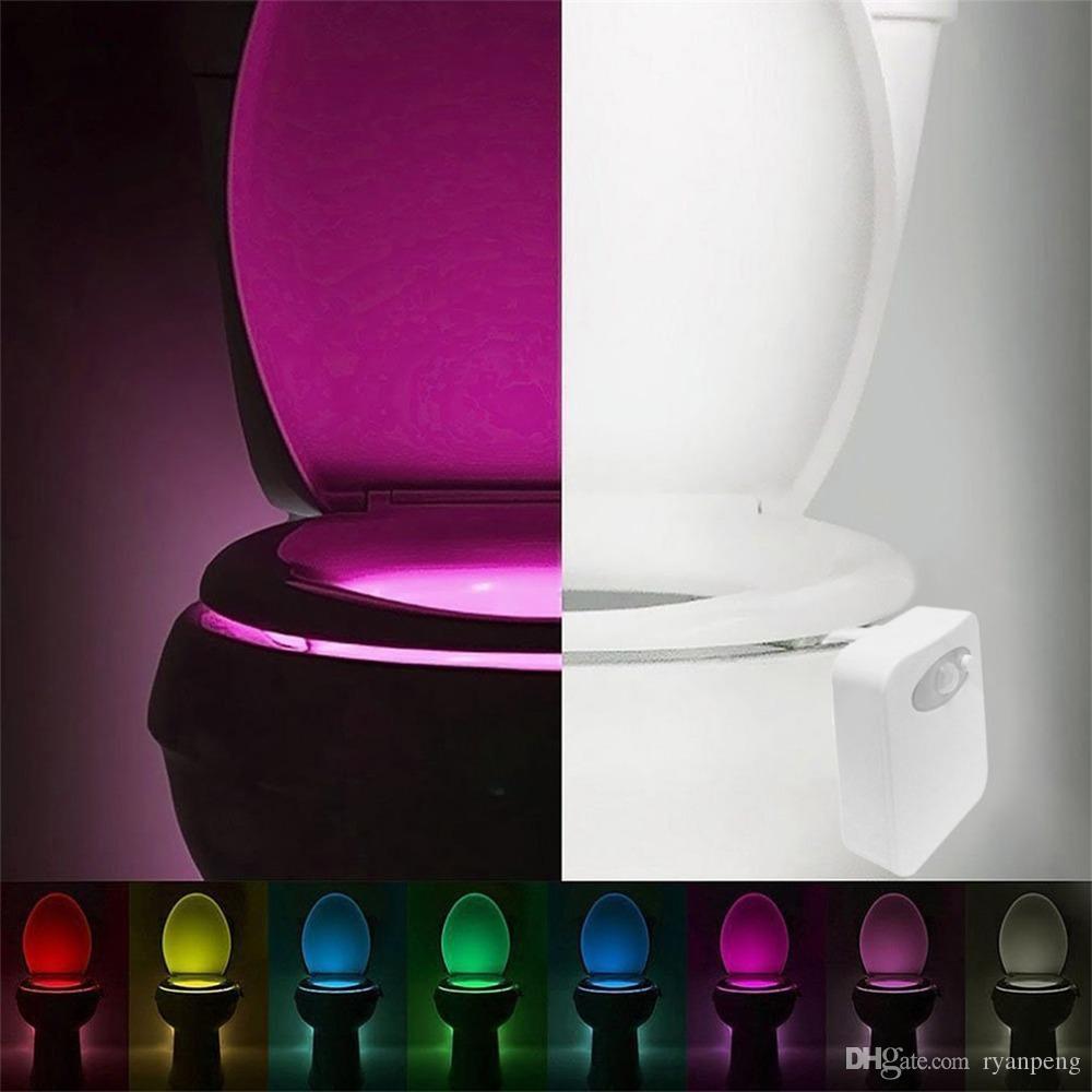 Smart Led Motion Motion Sensor attivato Toilette Night Beach Bathroom con 8 colori Sedile della lampada del sedile della lampada del sedile automatico