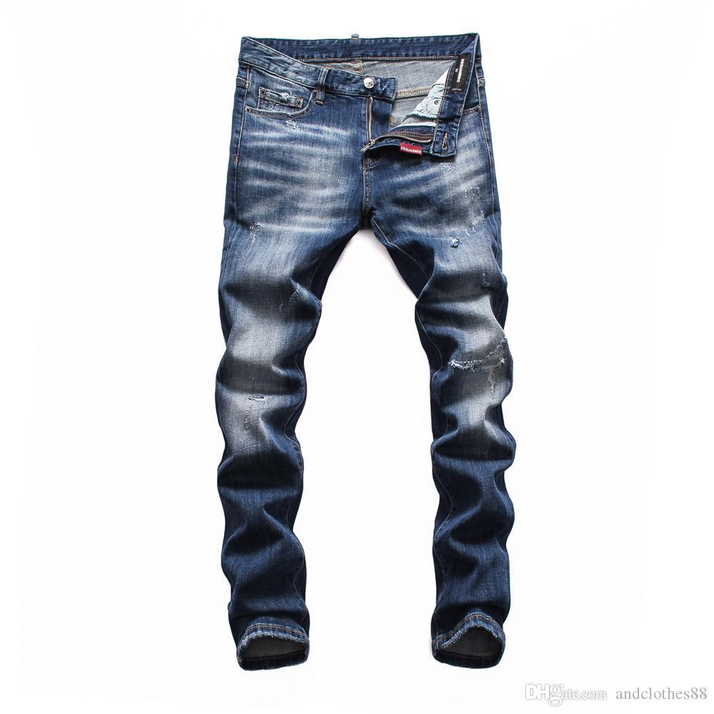 Mens Designer Jeans Slim Fit Jeans Hommes Ripped Salut-rue Hommes Distressed Denim Joggers genou Holes hommes jean déchiré hommes joggeurs