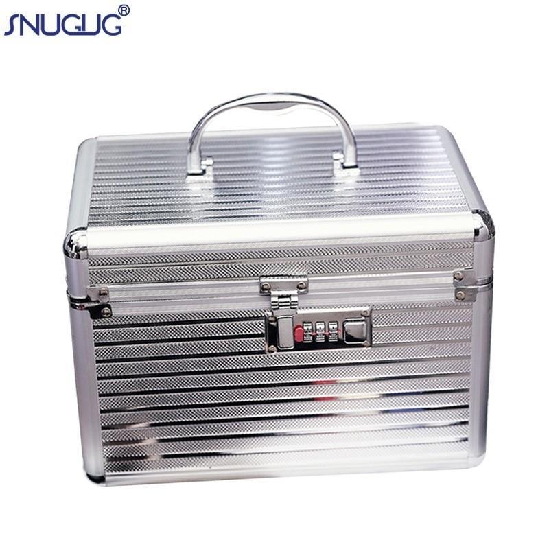 Caja de maquillaje de aluminio profesional para mujer, caja de tren de joyería de viaje portátil, caja de organizador cosmético, caja con espejo, caja de belleza