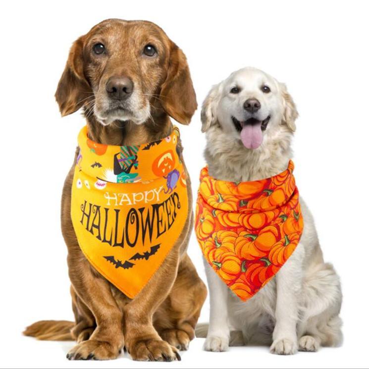 هالوين الحيوانات الأليفة منشفة اللعاب الأزياء القرع رئيس العنكبوت الهيكل العظمي مطبوعة الكلب باندانا وشاح عطلة ملابس الكلب إكسسوارات ديكور WY407Q