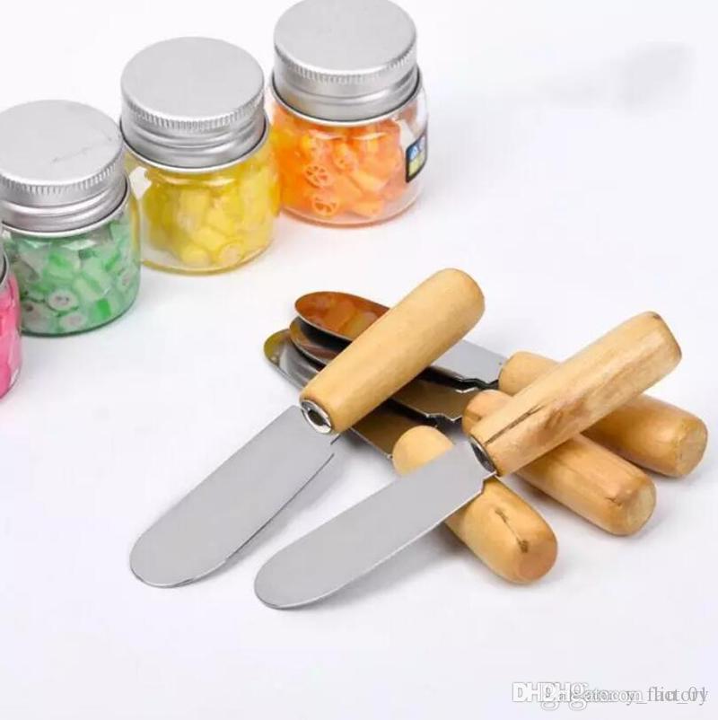 Vajilla de Acero Inoxidable Espátula mantequilla con la manija de madera cuchillo de mantequilla del desayuno del queso Herramienta esparcidora de Jam Postre