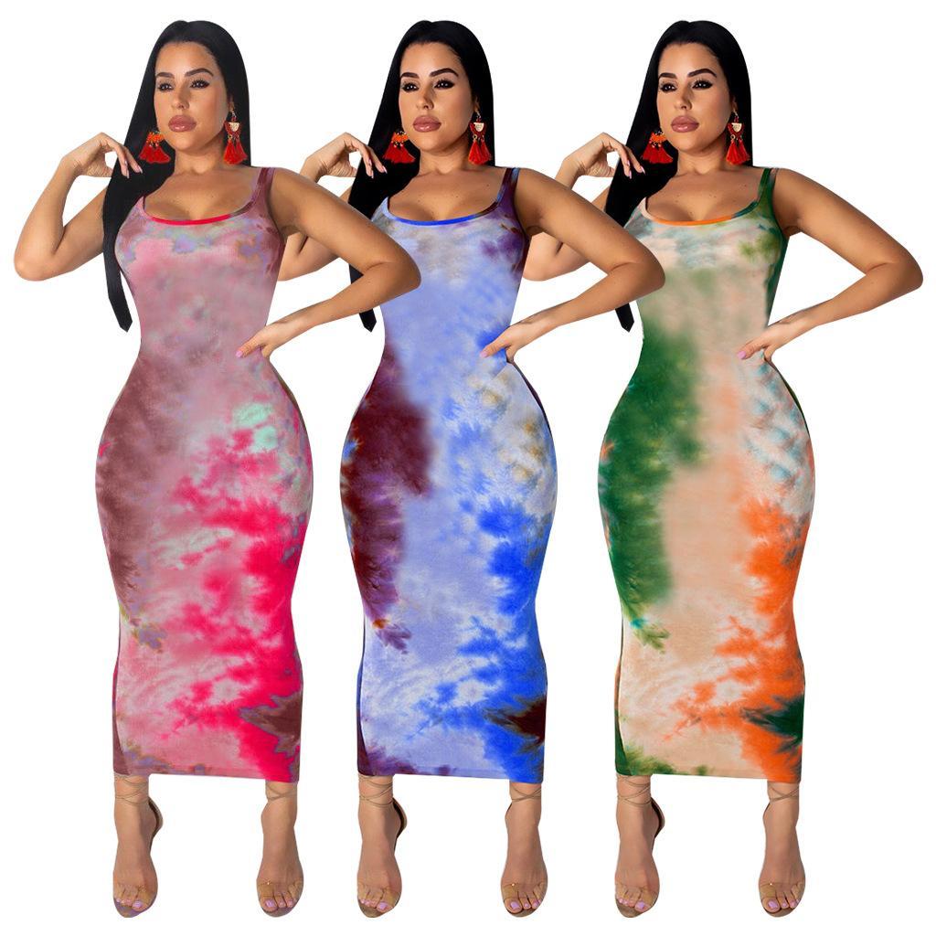 Yeni Coming Degrade Baskı Günlük Elbiseler Seksi Spagetti Boyun Kılıf Party Club Giysi Moda BODYCON Elbise fz4374