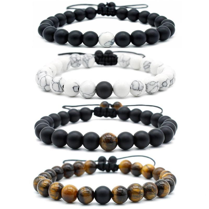 2020 granos del ojo del tigre joyería de las pulseras para hombres 8mm Piedra Natural Yoga brazaletes blancos de la turquesa ajustable partido de las mujeres pulsera H15A regalo