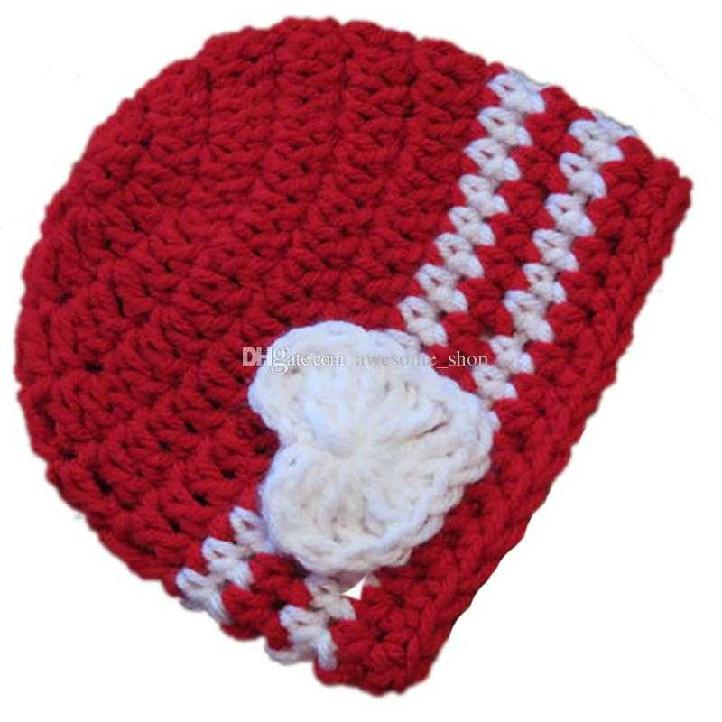 Crochet Red Baby Valentine Day Hat,Handmade Knit Baby Boy Girl Striped Beanie with White Heart,Infant Spring Winter Cap,Newborn Photo Prop