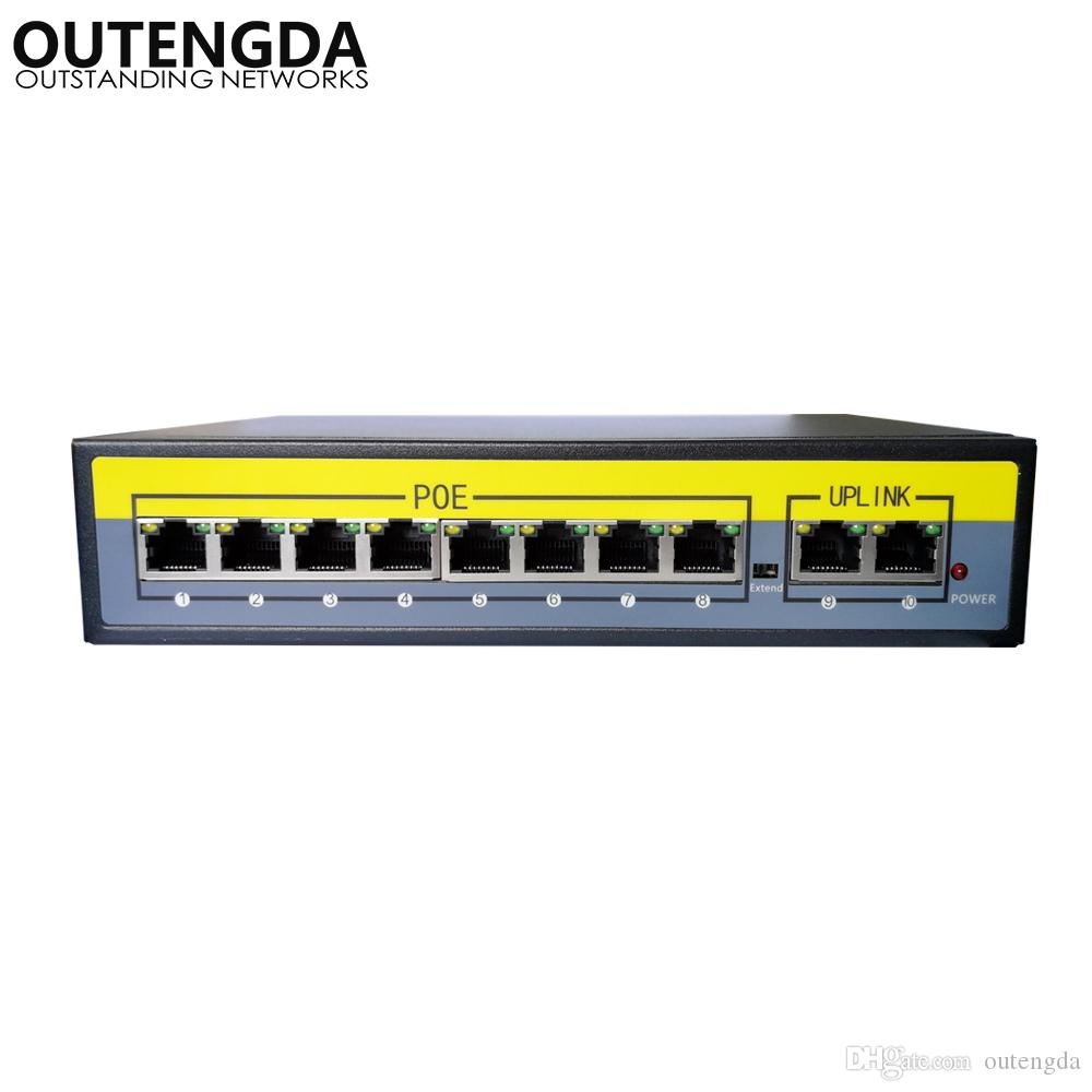 2+8 Ports 100Mbps PoE Switch Adapter Power over Ethernet IEEE 802.3af/at for Cameras AP VoIP Built-in Power 120W Switch Injector