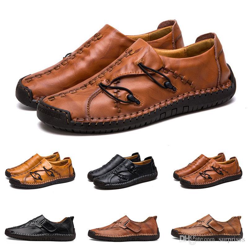 Yeni Hand'in dikiş erkekler rahat ayakkabılar ayarlamak ayak İngiltere bezelye ayakkabı deri erkek ayakkabıları düşük büyük boy 38-48 onüç