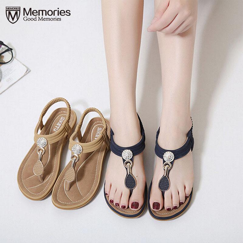 KLV Summer Sandals Women T-strap Flip Flops Thong Sandals Designer Elastic Band Ladies Gladiator Sandal Shoes Zapatos Mujer