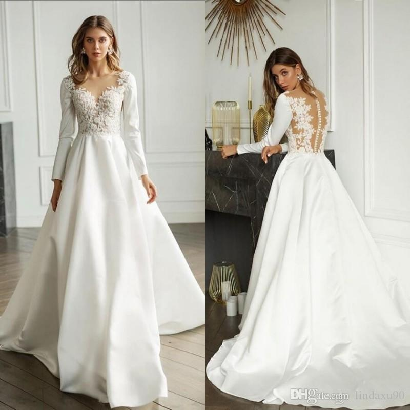 Discount 2020 Simple Satin Wedding Dresses Long Sleeve Lace Appliqued V Neck Bridal Gowns For Beach Gardens Sweep Train A Line Wedding Dress Wedding Gown Designs Alternative Wedding Dresses From Lindaxu90 106 5