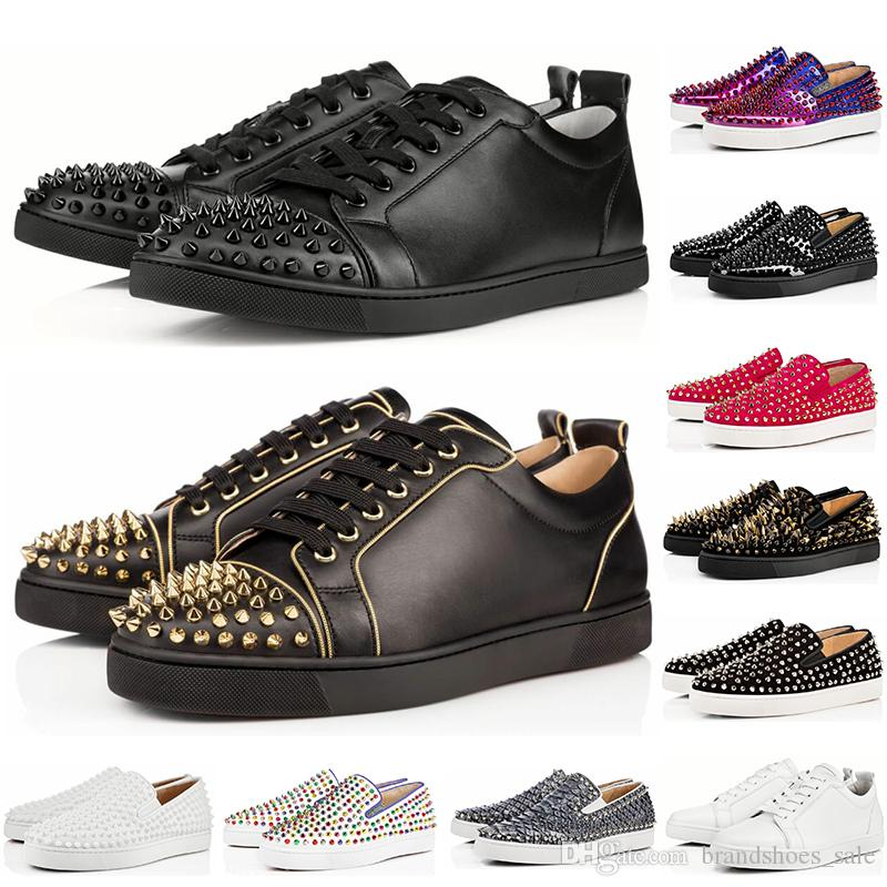 Wholesale luxury designer women shoes low red bottom Nude black red Leather Pointed Toes Pumps Party Genuine Leather casual sneaker shoes