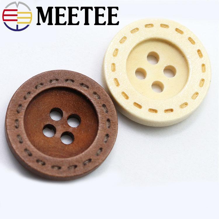 Pulsanti Meetee 11.5-18mm legno naturale Quattro fori Ampia shirt bordo punteggiato tasto rotondo Abbigliamento Accessori C1-5