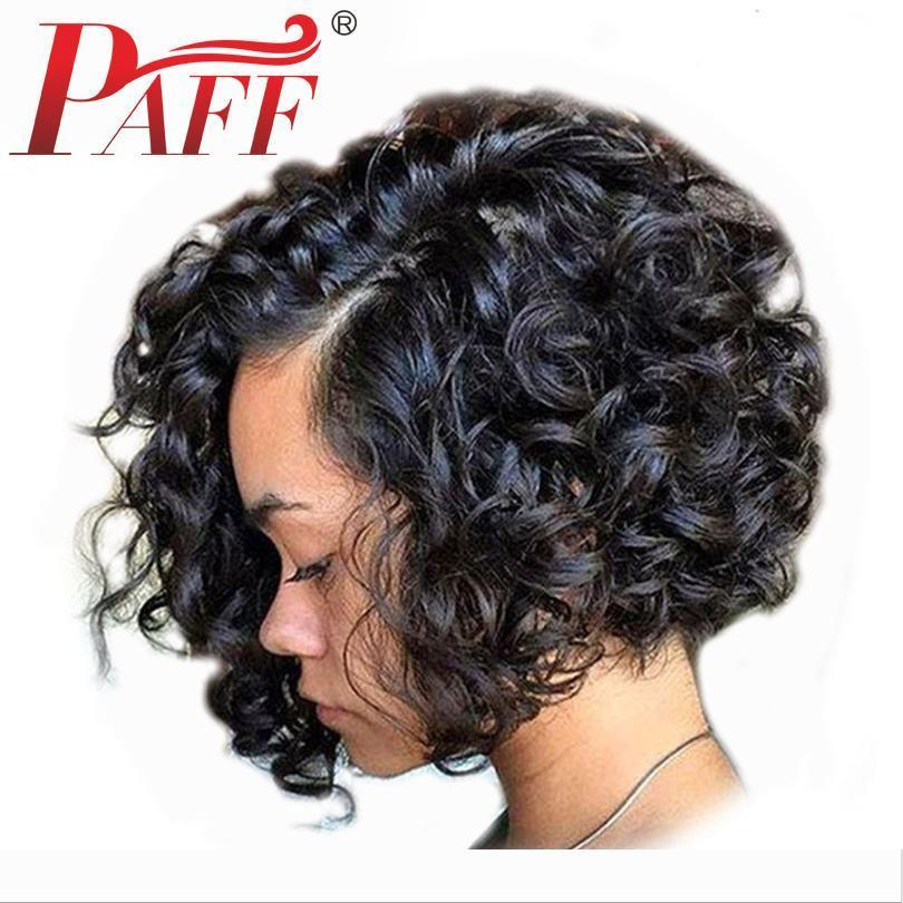 PAFF Short Bob Curly Full Lace Human Hair Wig Side Part Natural Color Brazilian Remy Hair With Baby Hair