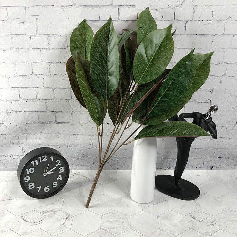 4pcs50cm 7 فوركس الاستوائية يورق الاصطناعي النباتات الفروع الحرير ماغنوليا أوراق النبات ستريت أوراق الشجر لديكور المكاتب المنزلية
