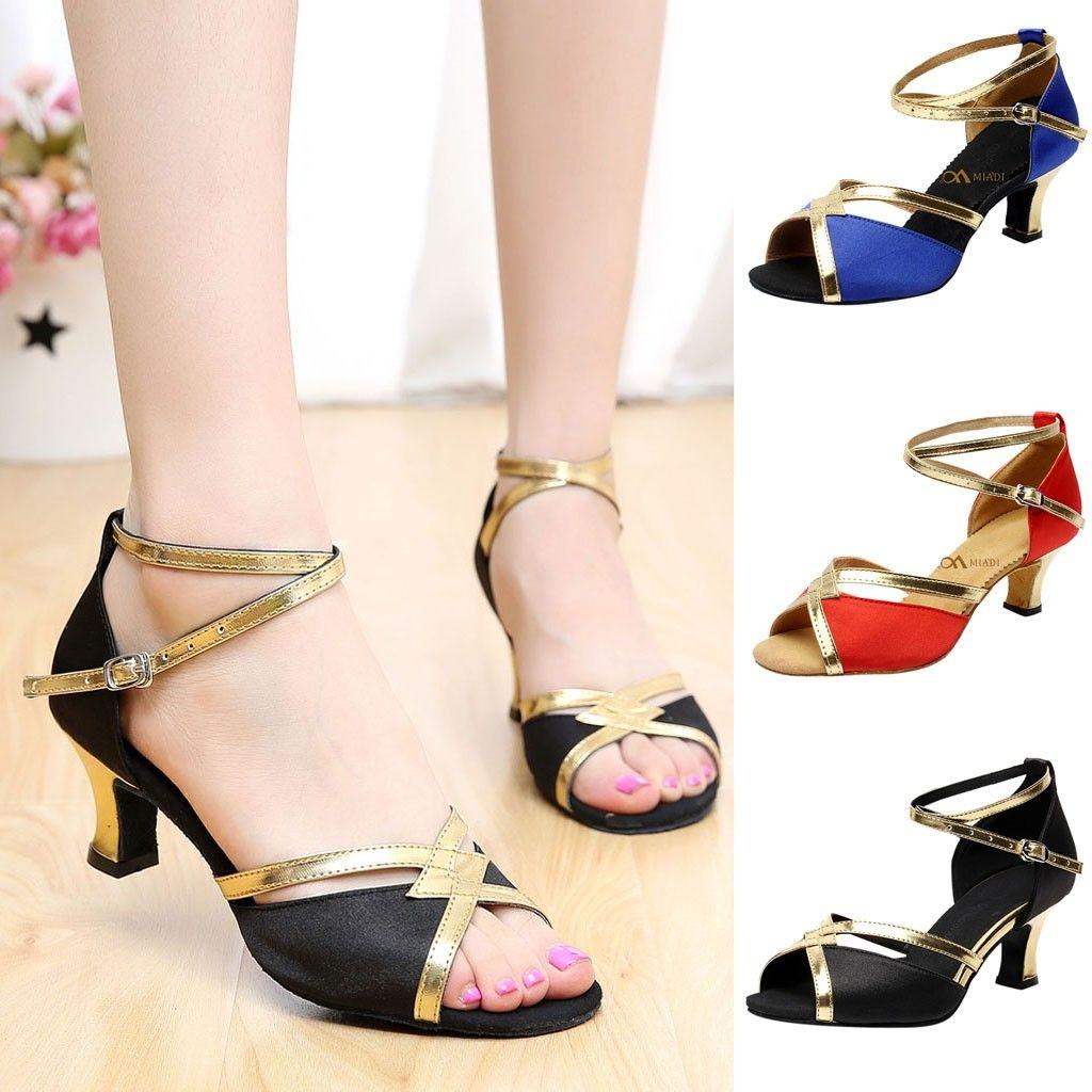 Brand New Women/'s Ballroom Latin Tango Dance Shoes heeled Salsa Black Brown 230