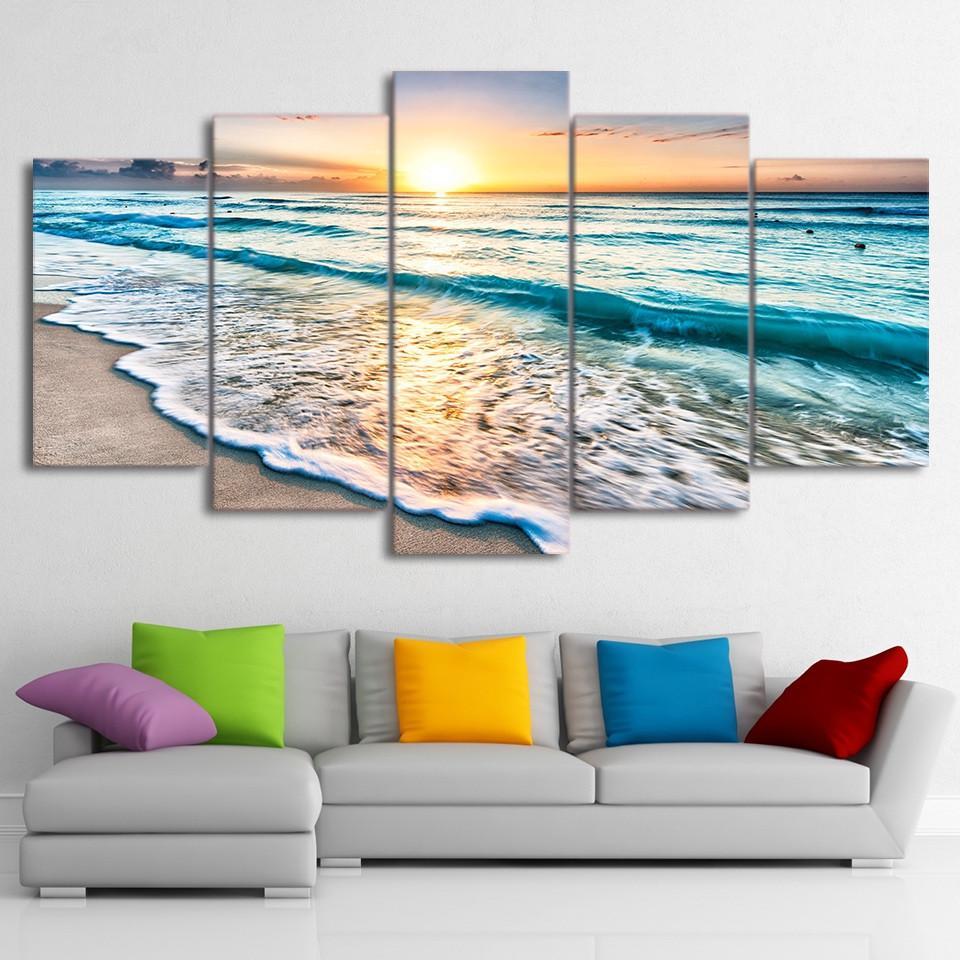 Arte de la pared Fotos Impresiones en HD Lienzo 5 Piezas Olas en la playa en Sunset Pinturas Paisaje marino Posters Sala de estar Decoración para el hogar sin marco