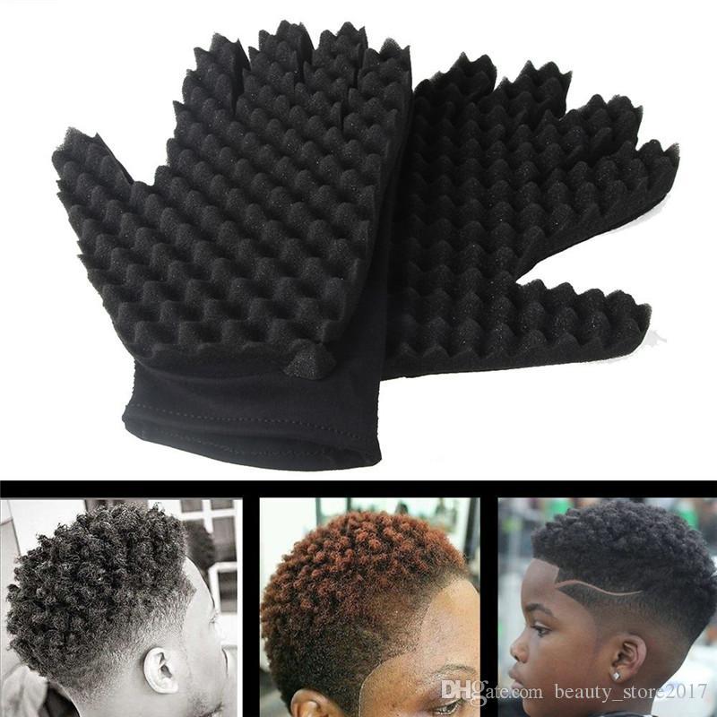 1pc Gants éponge Mode Curls Coil magique outil d'onde Barber brosse à cheveux Gants éponge bigoudi Gants de curling naturel