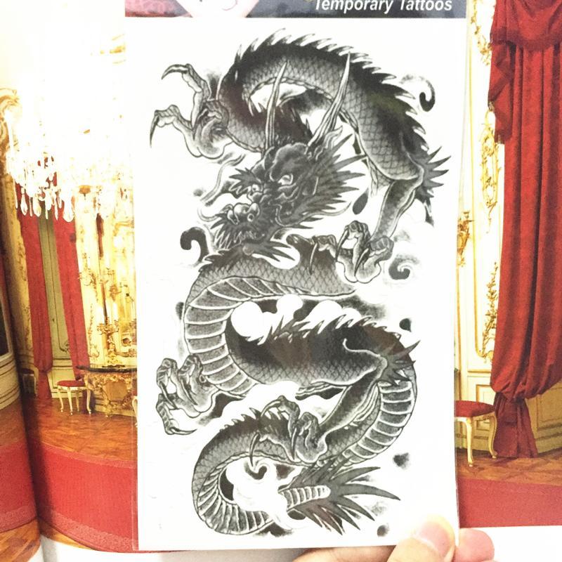 Shnapign Black Chinese Dragon Temporary Tattoo Body Art,12*20cm Flash Tattoo Stickers,waterproof Fake Tatoo Henna Wall Sticker T190711