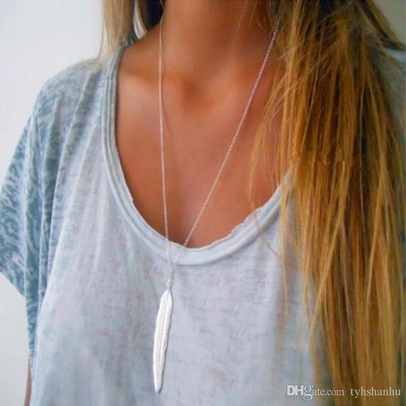 Новая мода женские старинные длинное ожерелье ювелирные изделия серебро золото простое перо кулон ожерелье ювелирных изделий Colar N1237