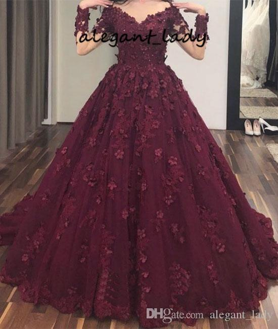 3D Floral Applique Prom Pageant Princess Dresses with Long Sleeve 2019 Burgundy Lace Tulle V-neck Full length Dubai Arabic Evening Wear Gown