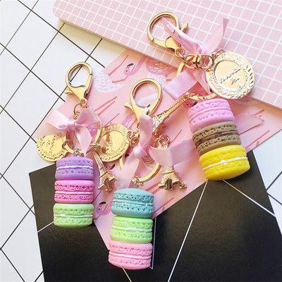 여자 남자를위한 새로운 마카롱 케이크 키 체인 패션 귀여운 키 체인 가방 매력 자동차 키 링 웨딩 파티 선물 보석