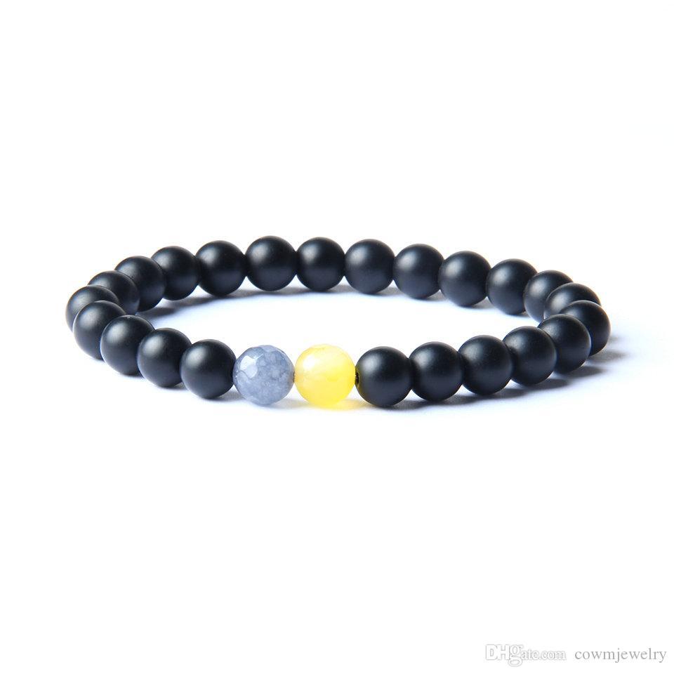 Hot Sale Fashion Couple Bracelets Bangles Black White Stone Beaded Bracelet For Women And Men Romantic Gift