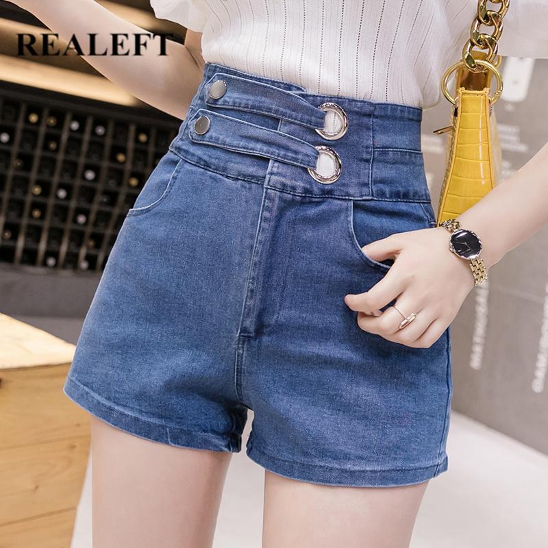 REALEFT 2020 Nuova Primavera estate sexy Hots denim shorts a vita alta a doppia cinghia casuale bicchierini femminili del cowboy Jeans Pocket Blu