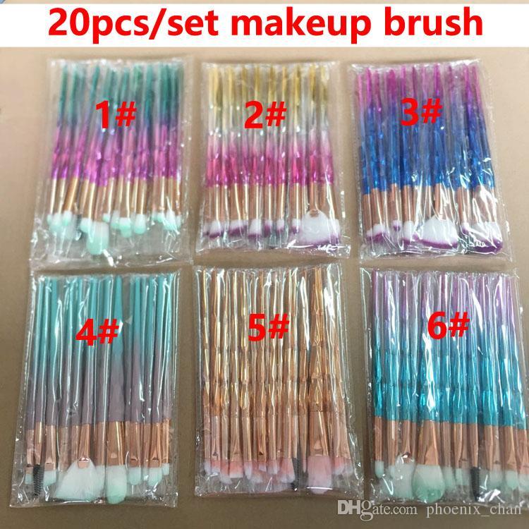 Diamante 3D Escovas 20pcs Set Powder Brush Kits Rosto Pincel Eye Puff Batch ColorfulBrushes Fundação escovas beleza Cosméticos Em estoque