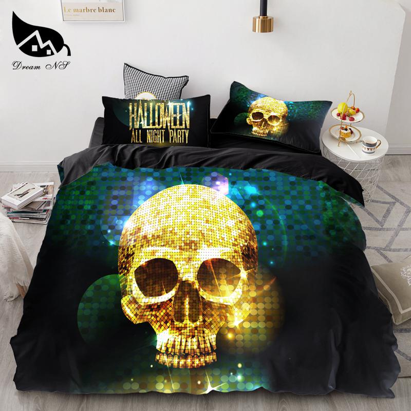 Dream NS Skull Halloween style 3PCS Bedding Set Queen Size Quilt Duvet Cover Sets Polyester Bedclothes New Beddings