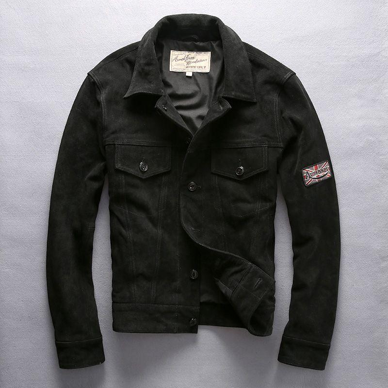 Vintage clásico solo pecho masculino Coats 2019 chaqueta de los hombres del otoño del resorte del cuero genuino ocasional de la chaqueta de la manera del jinete de la motocicleta