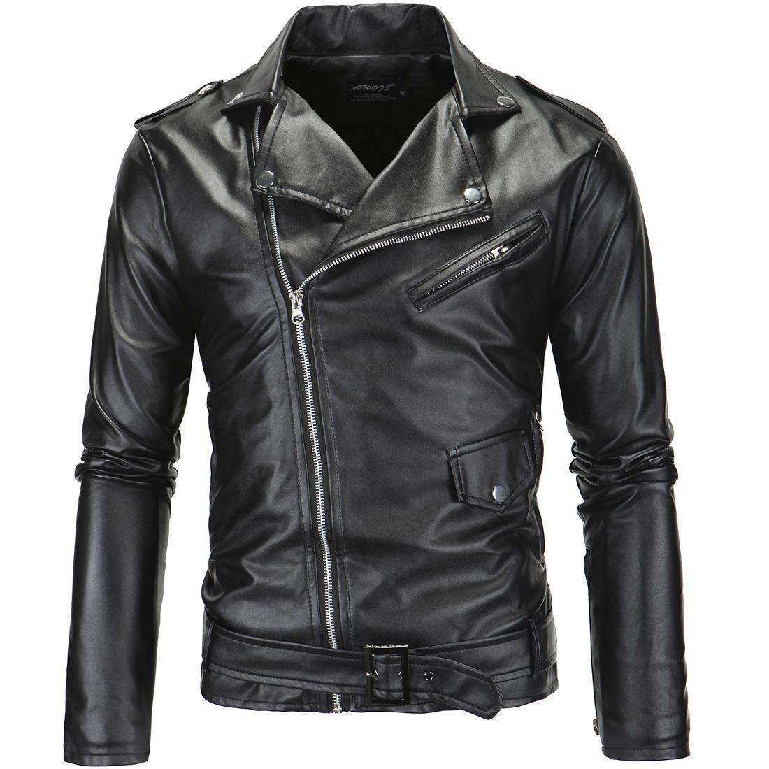 Plus Size 4XL Uomini moto d'epoca del rivestimento casuale in pelle cappotto degli uomini di design autunno Biker Rivet Tasche Cuoio Giacche Uomo T-Shirts