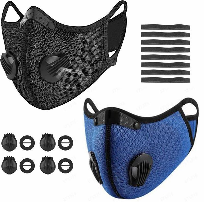 DHL envía Ciclismo mascarillas 5-máscara de capa del polvo anti Boca con la respiración válvula ajustable Máscara reutilizable lavable