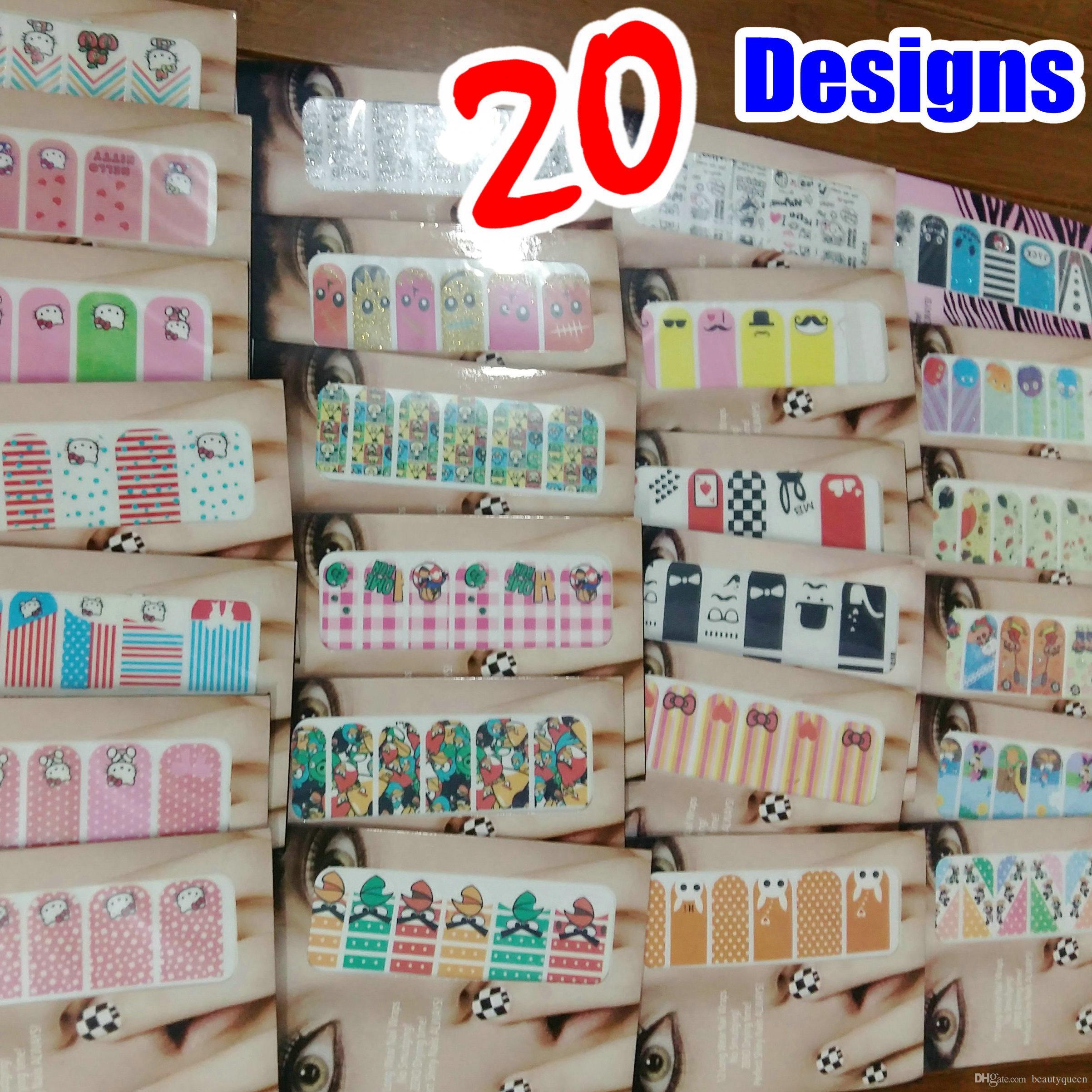 20 Entwürfe Cartoon Anime nette Katze Nail Wrap Wraps Aufkleber-Nagellack-Streifen-Streifen-Aufkleber-Flecken-Folien Tipps Abziehbilder DIY NEU * Hohe Qualität