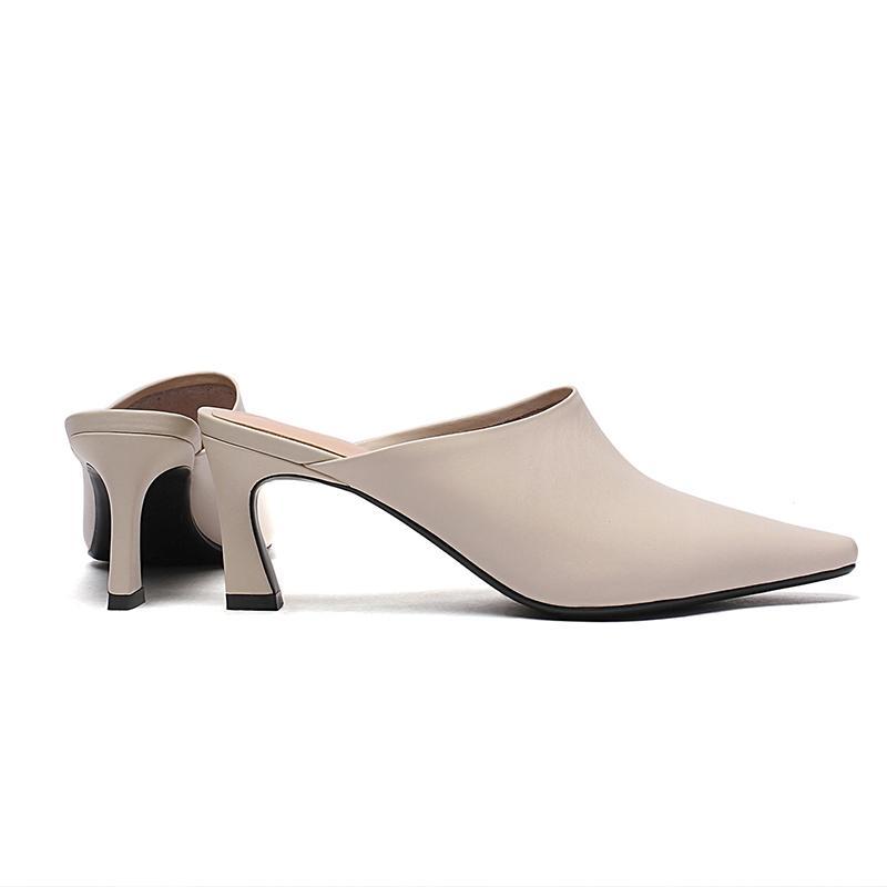 Curvaness Chaussons Femmes bout pointu Slides Mules Petit talon pantoufles dames robe Chaussures Mode Femme Haut Mulets été T05