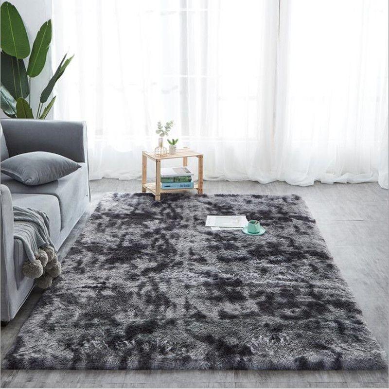 2020 Grey Carpet Tie Dyeing Plush Soft Carpets For Living Room Bedroom Anti  Slip Floor Mats Bedroom Water Absorption Carpet Rugs Carpet Tile Design ...
