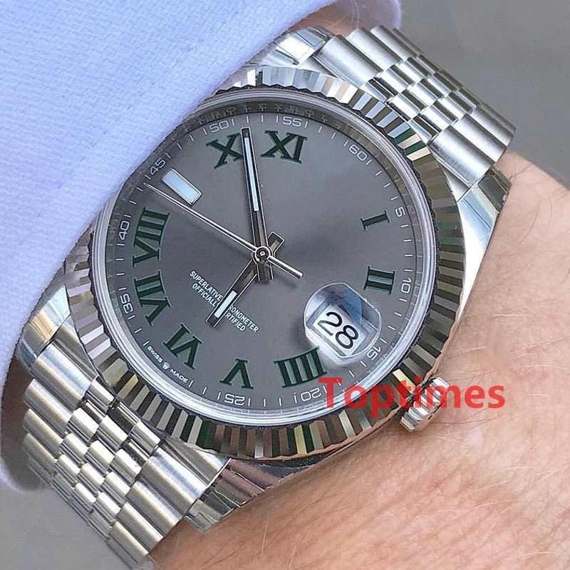 Fashion Men Geneva Watch Steel Roman Gray Dial Womens Luxury Mechanical Automatic movement Mens Reloj Datejust Watches WristWatches 126300