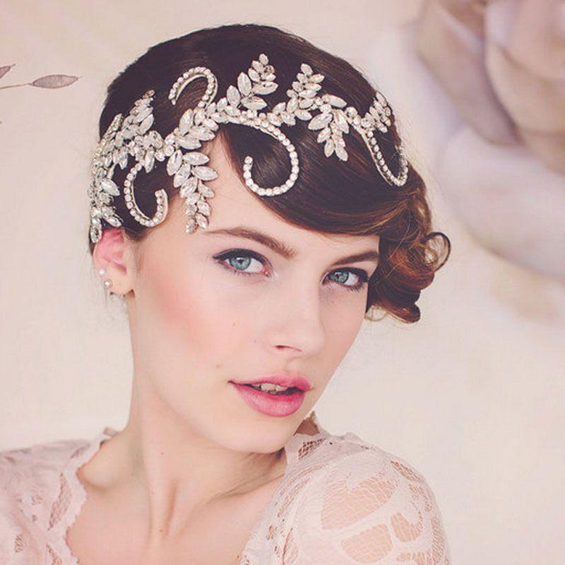 Vintage Tiara Handmade Crown Clear Crystal Bridal Hair Accessories Headband Women Wedding Hair Jewelry Headpiece Hair Vine J 190430