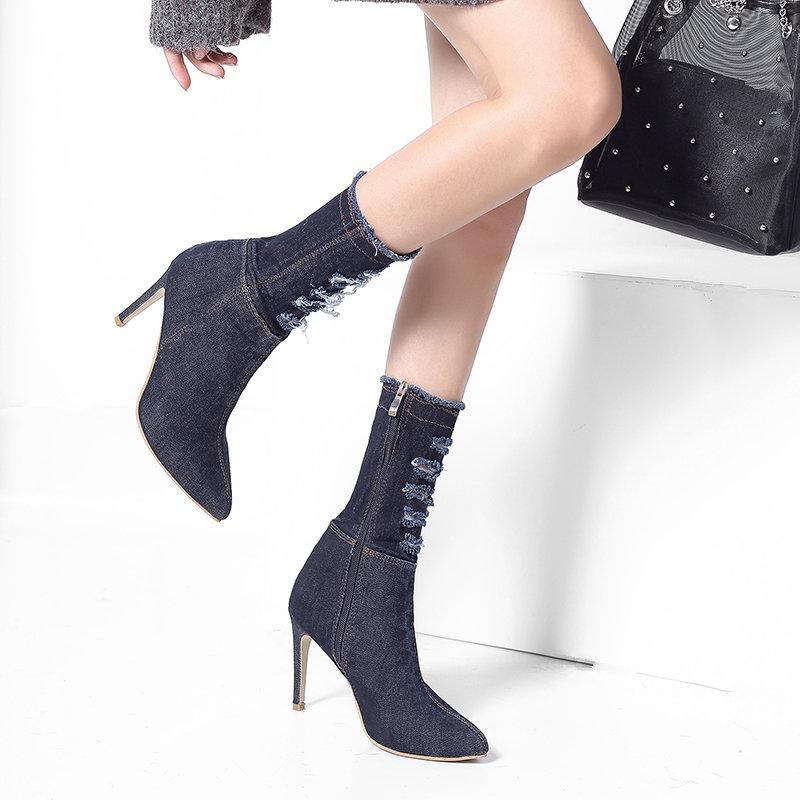 2019 moda europeus e americanos botas de cowboy stiletto tendência das mulheres selvagens botas pontiagudas confortáveis de salto alto das mulheres.
