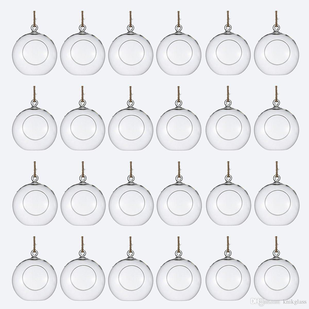 Package of 24 Clear Glass Orbs Terrarium Hanging Glass Candle Holders 8 CM Tea Light Holders Use For Succulent Gardening or Wedding Decorati
