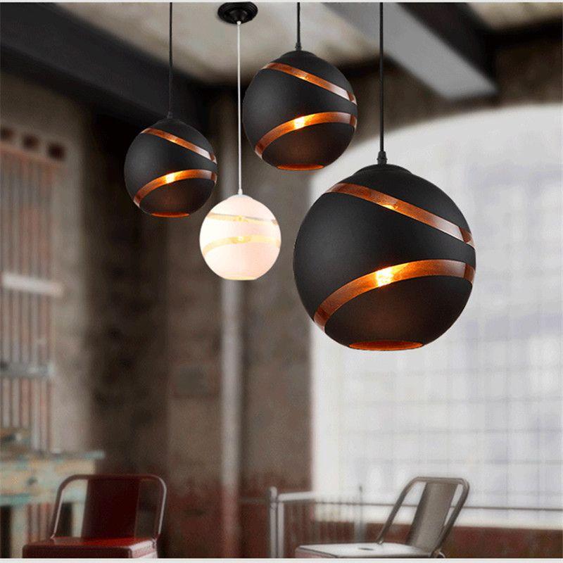 Diseño nórdico pendiente de la luz bola de cristal de la lámpara colgante Comedor Cocina Loft Decoración Iluminación para el hogar Accesorios Blanco Negro 110-240 -Le44