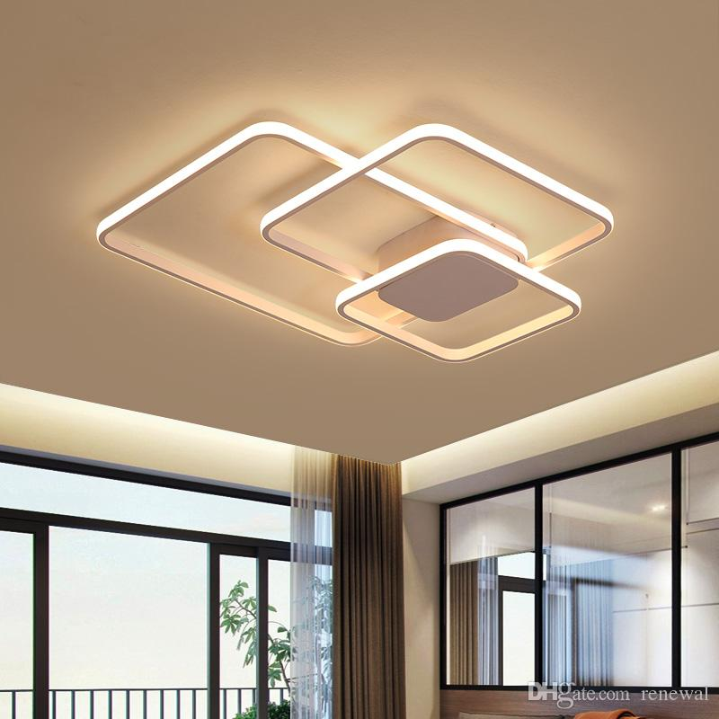 Luzes de teto de alumínio modernas Lâmpada LED para sala de estar quarto luminária círculo anéis modernos lâmpada de teto AC90V-265V luz