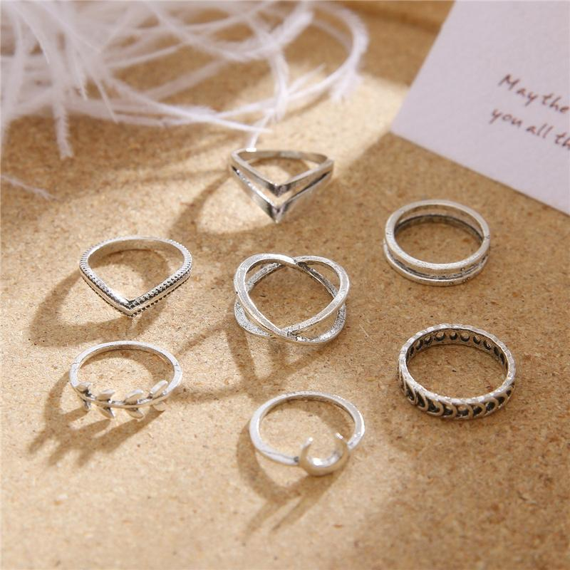 7 Pcs/Set Vintage Silver Hollow Geometric Cross Rings for Women Bohemian Leaf Moon Knuckle Ring Fashion Jewelry anillos mujer
