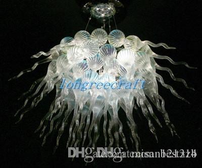 Ücretsiz Kargo Ağız Üflemeli / 120v 110v LED Ampuller Özel İnce Sanat Cam Dekorasyon Parlak Şeffaf Renk Avize