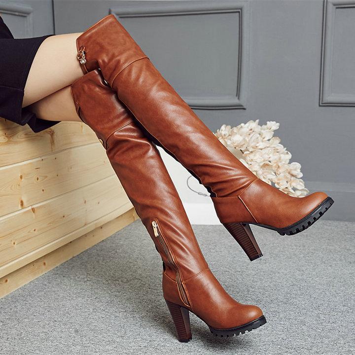 Sıcak Satış-Bayan Pu Deri Diz Yüksek Boots Kare Yüksek Topuk Moda Boots Platformu Fermuar Kış Kadın Ayakkabı Kahverengi Kırmızı