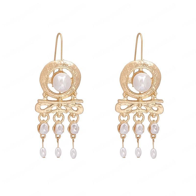 Hot Europe Fashion Jewelry Retro Exaggerated Pearl Beads Dardrop Dangle Earrings