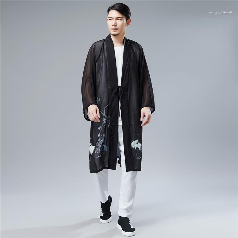 Mens Casacos de Verão de Split Homme Han vestuário chinês 2020 Casual Primavera estilo chinês Cardigans Birds Impresso Belt