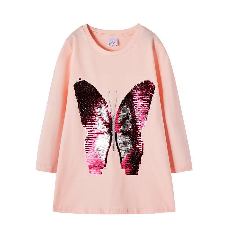 2019 niñas se visten de lentejuelas mariposa flip impresos electrónico wearPackage de vestir de manga larga de los niños