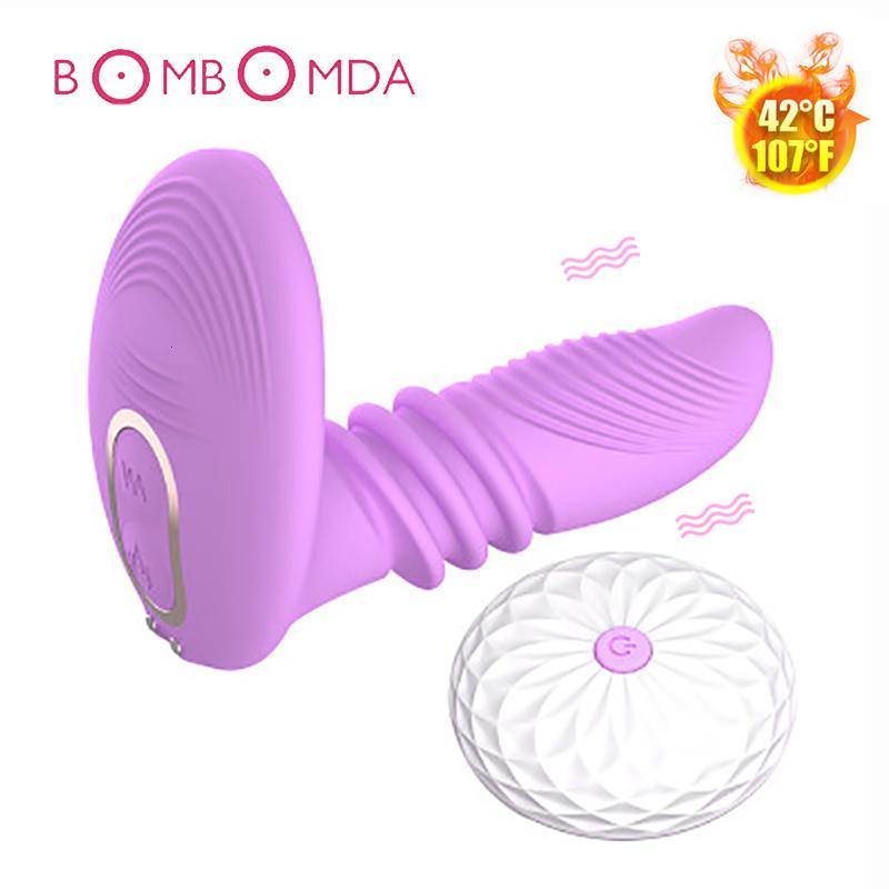 Вибратор отопление Взрослые телескопические дистанционные женщины секс клитор контроль влагалища стимулятор игрушки для G-Spot Masturbator анальный фаллоимитатор мужчин Y19101 UXQC