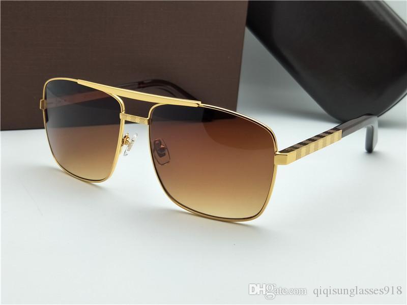 Yeni erkek moda klasik güneş gözlüğü tutum güneş gözlüğü altın çerçeveli kare metal çerçeve bağbozumu tarzı açık tasarım klasik modeli 0259