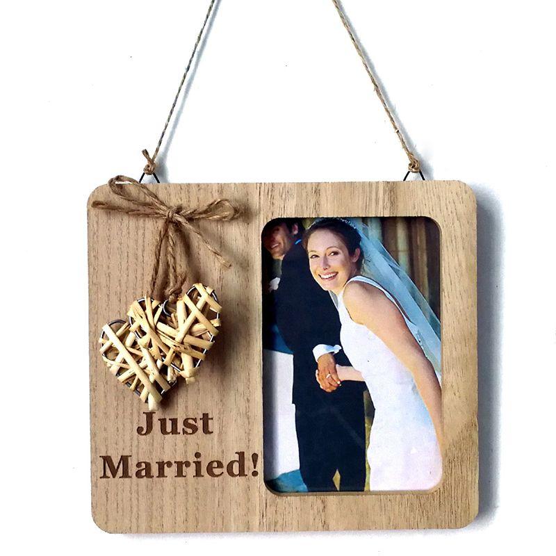 Rústico Do Casamento Da Foto Quadro De Madeira Gravado Photo Frame Presentes De Casamento para Casais De Madeira Pendurado Tabela Fotos Titular Decoração Do Casamento
