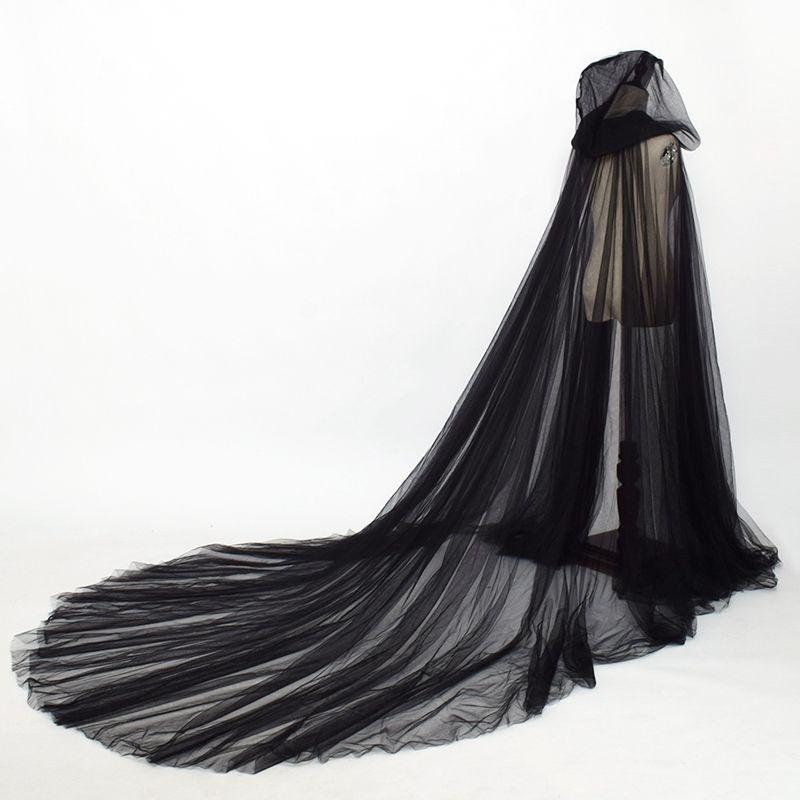 후드 2.4m 이상 길이 중세 코트 케이프 고딕 양식의 여성 두 레이어 얇은 명주 그물 망토 우아한 보헤미안 요정 소프트 롱 케이프 신부의 웨딩 코트
